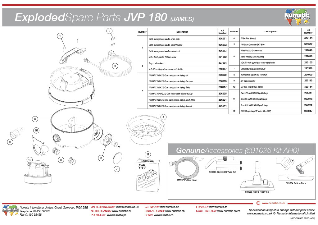 JVP 180/ JAMES Exploded Spare Parts List