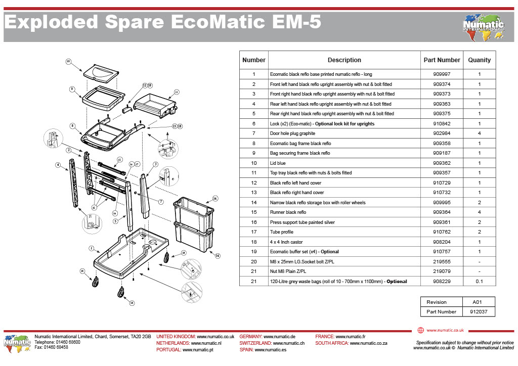 EM-5 Exploded Spare Parts Drawing