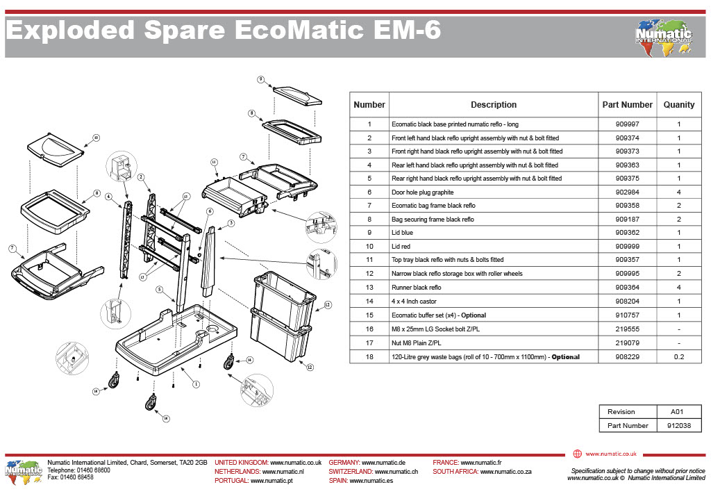 EM-6 Exploded Spare Parts Drawing