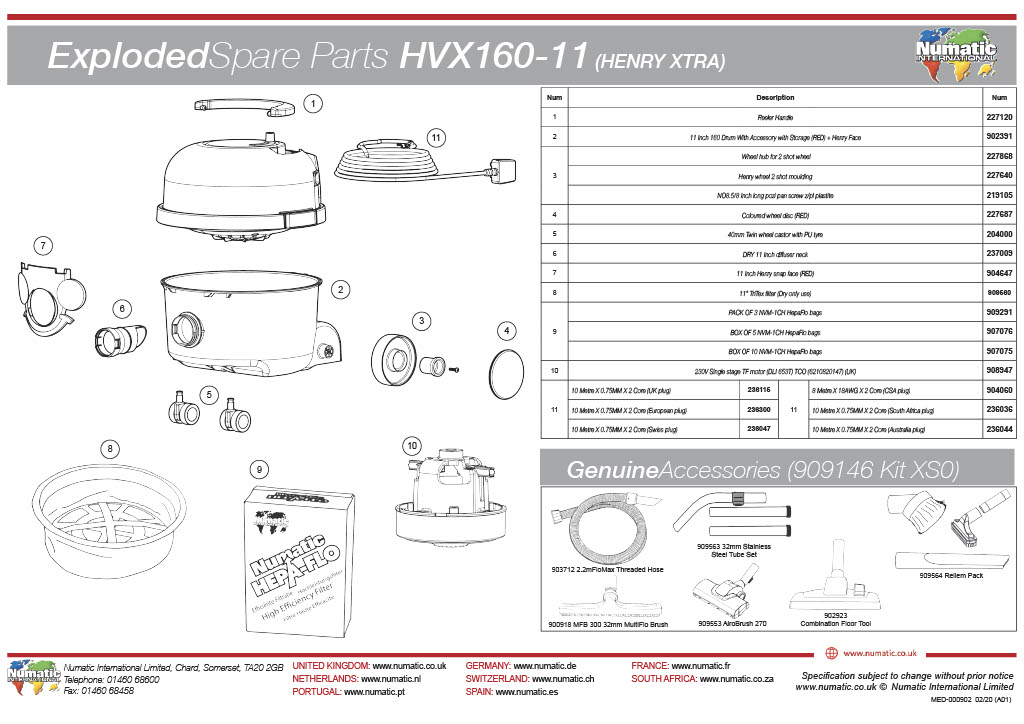 HVX-160 (XTRA) Exploded Spare Parts List