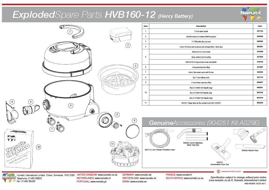 HVB-160  Exploded Spare Parts List