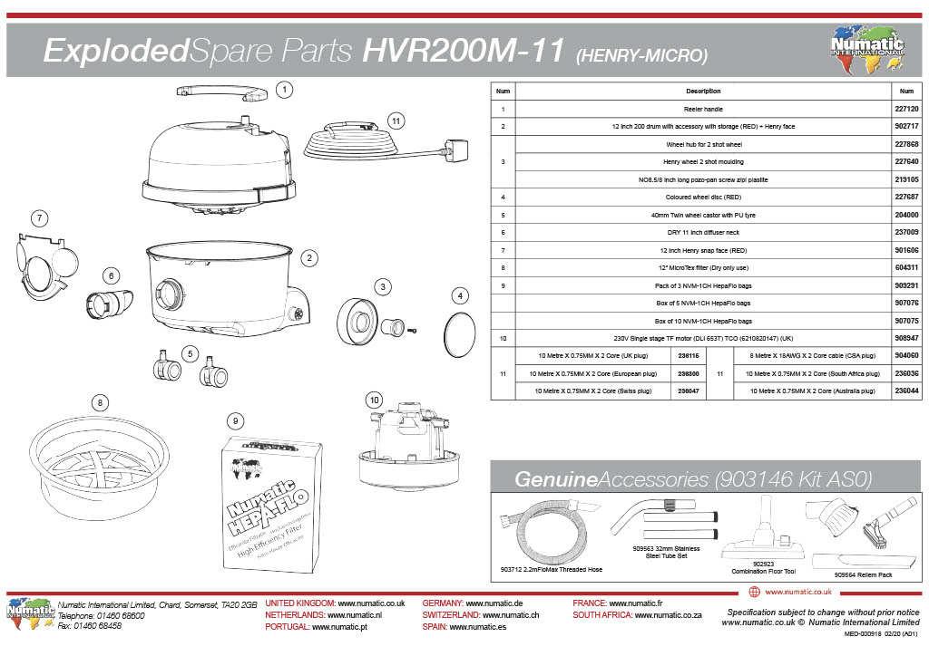 HVR-200M Exploded Spare Parts List