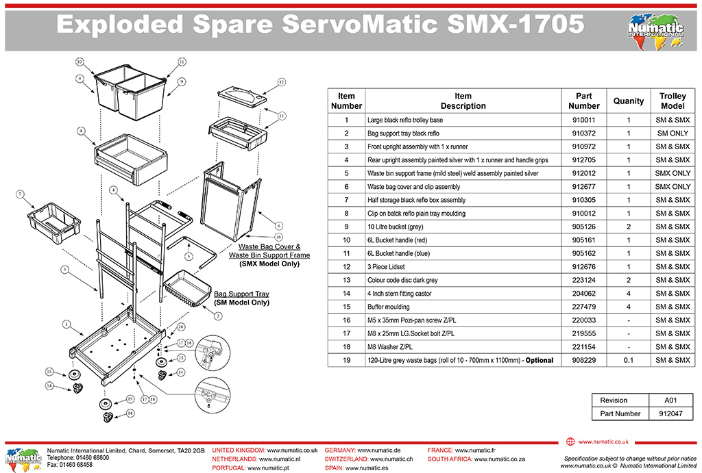 Servomatic SM/SMX 1705 Exploded Drawing