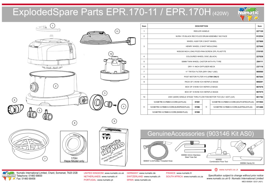 ERP170/EPR170H Exploded Drawing