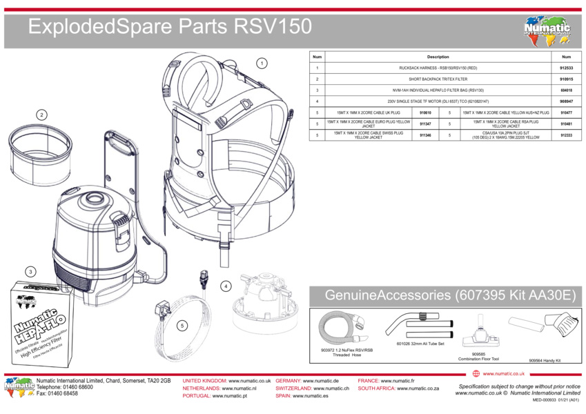 RSV150 Exploded Drawing