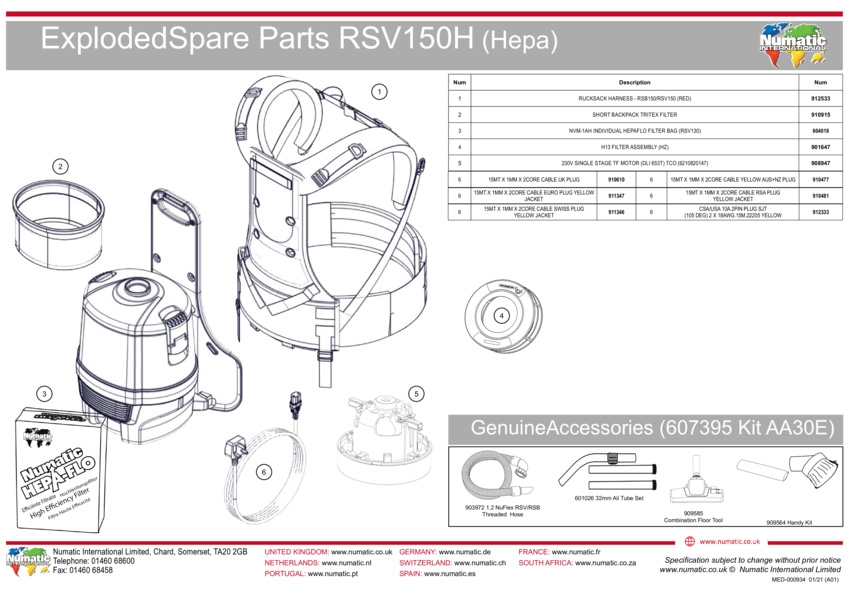 RSV150H(HEPA)Exploded Drawing