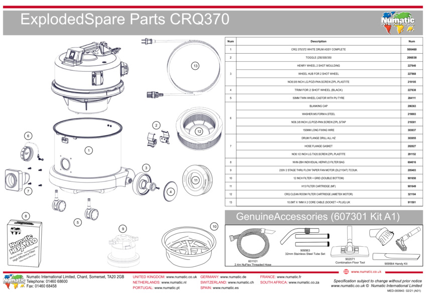 CRQ370 Exploded Drawing