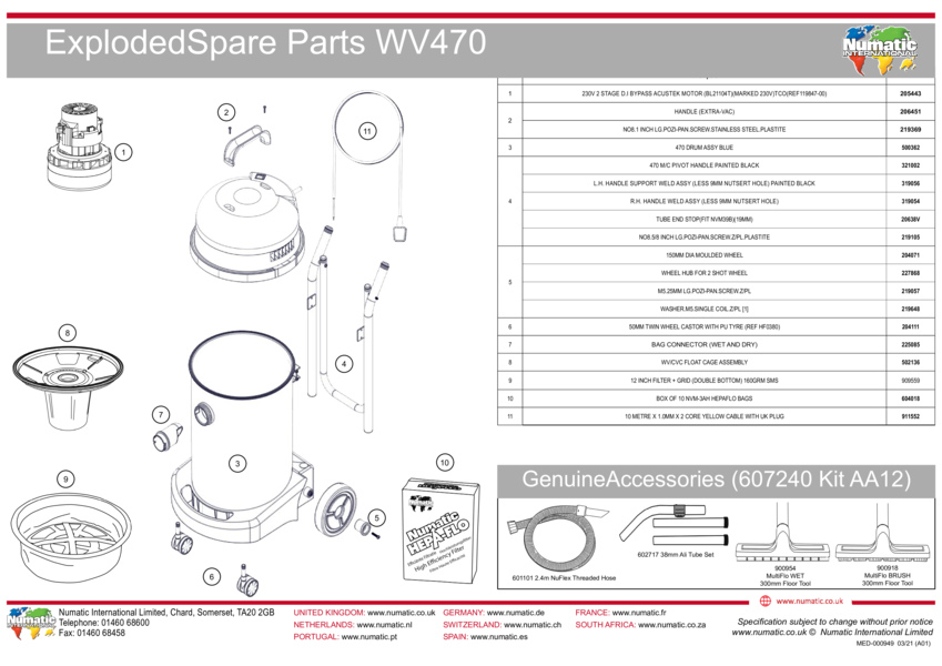 WV 470 Exploded Drawing