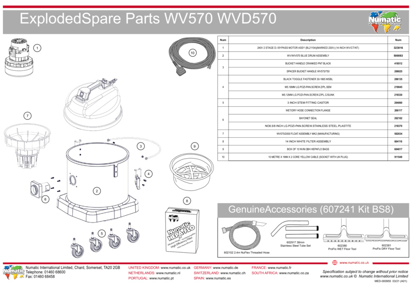 WV570/WVD570 Exploded Drawing