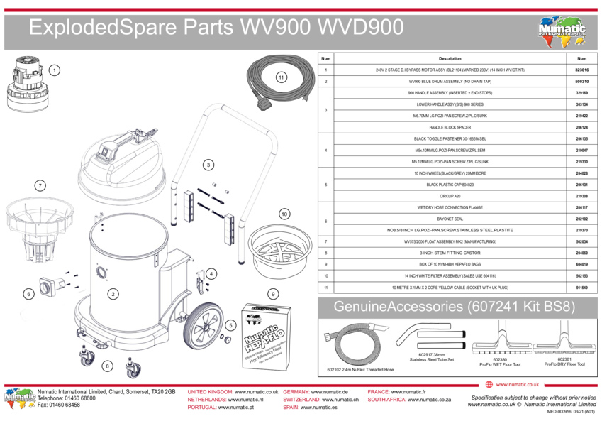 WV900/WVD900 Exploded Drawing