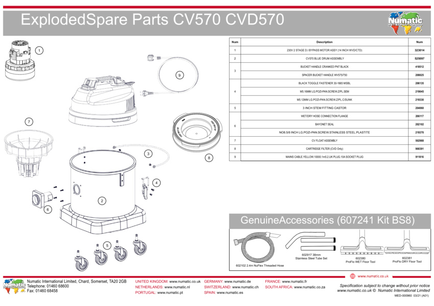 CV570/CVD570 Exploded Drawing