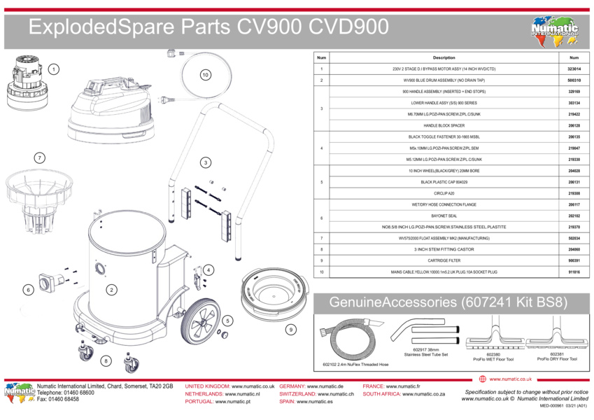 CV900/CVD900 Exploded Drawing