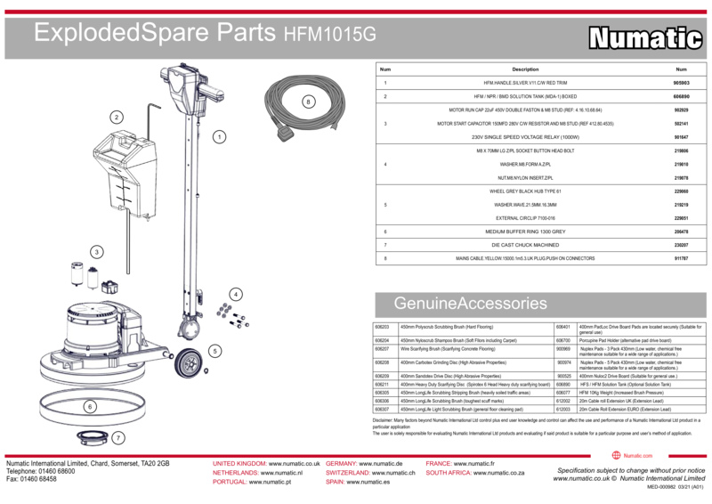 HFM1015G Exploded Spare Parts Drawings