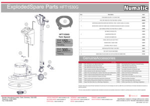 HFT1530G Exploded Spare Parts Drawing