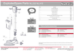 NLL332 NLL415 Exploded Spare Parts Drawing