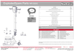 NR1500G Exploded Spare Parts Drawing