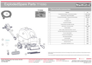 TT1535G Exploded Spare Parts Drawing