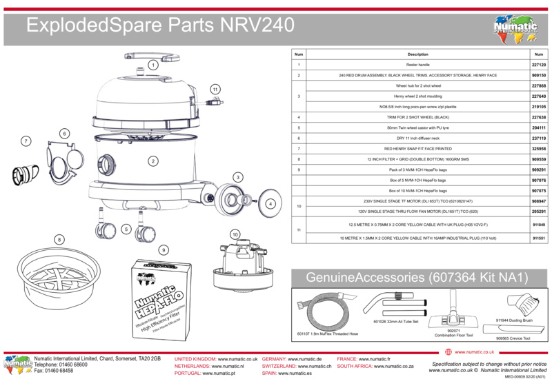VNR200 Exploded Spare Parts Drawing