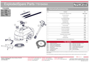 TTB1840NX Exploded Spare Parts Drawing