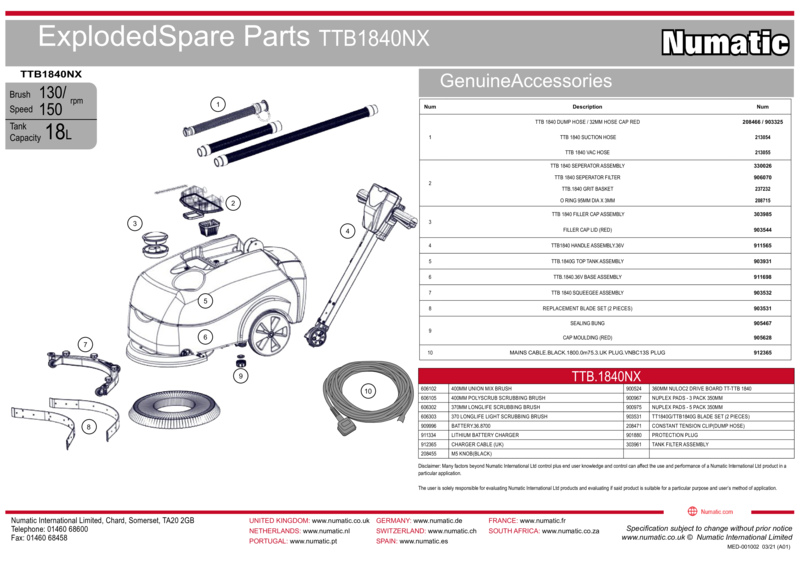 TTB1840NX Exploded Spare Parts Drawings