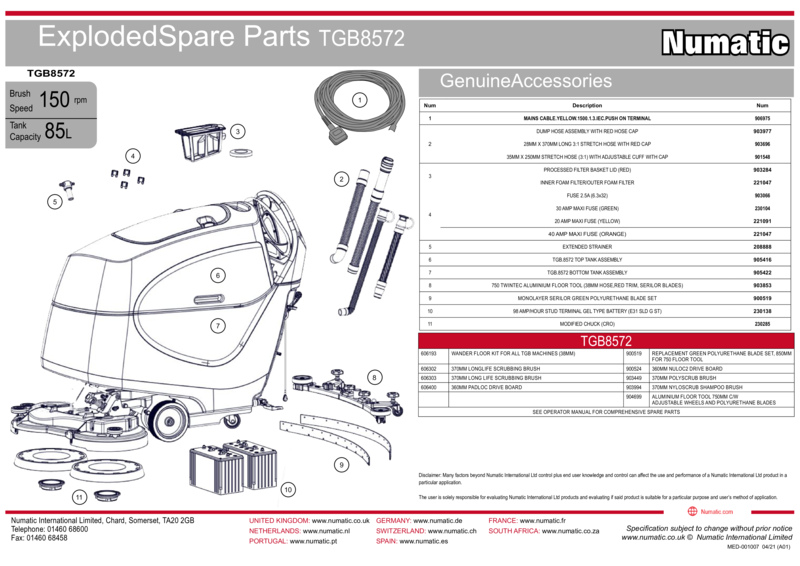 TGB8572 Exploded Spare Parts Drawing