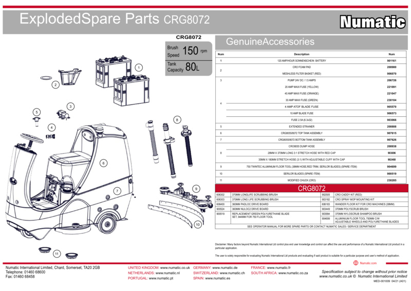 CRG8072 Exploded Spare Parts Drawing