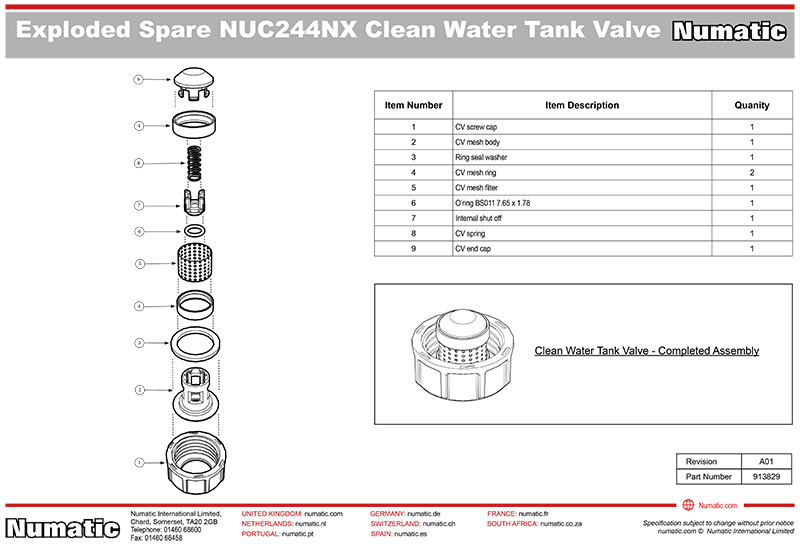 913829 Clean Water Tank Valve Kit Exploded Drawing