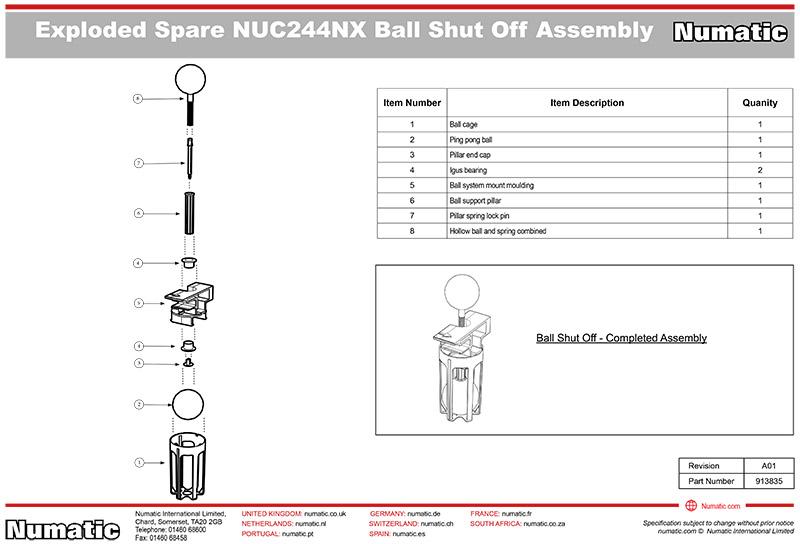 913835 Ball Shut Off Valve Kit Exploded Drawing