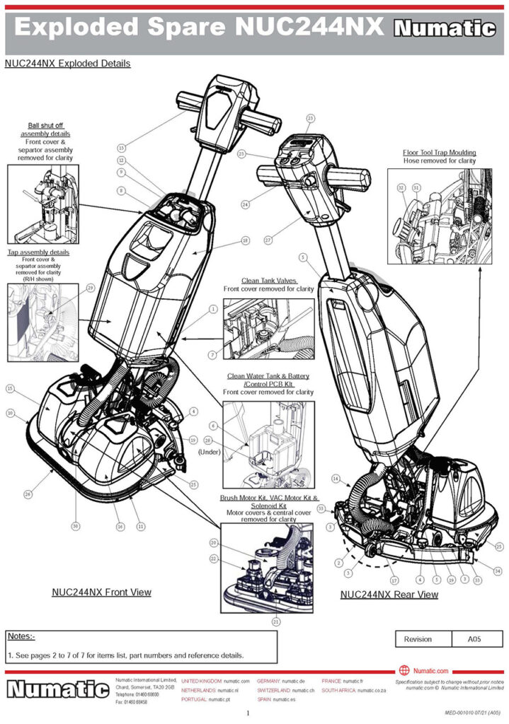 NUC244 NX Spare Parts Kits Exploded Drawing
