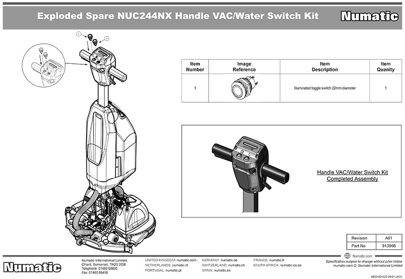 913996  Handle Vac/Water Switch Kit Exploded Drawing