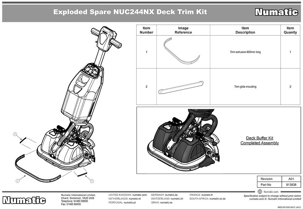 913838 Deck Buffer Kit Exploded Drawing