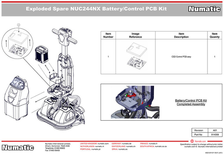 914008 Battery Control PCB Kit Exploded Drawing