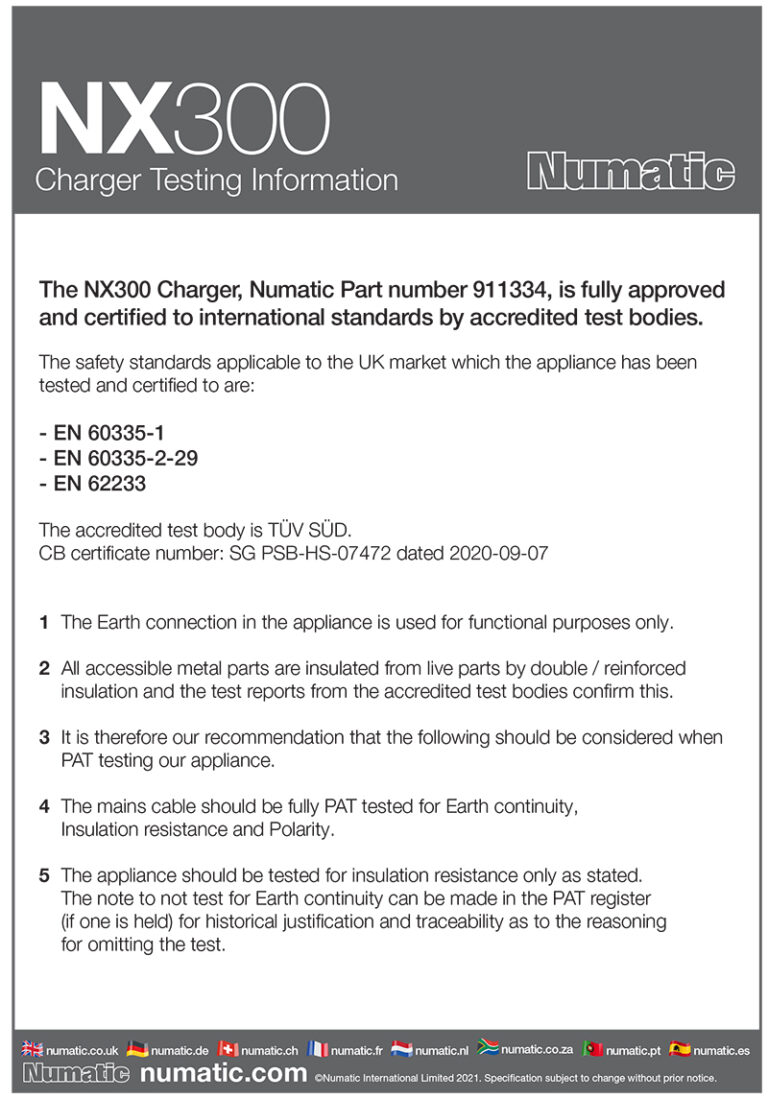 NX300 Charger Testing infomation