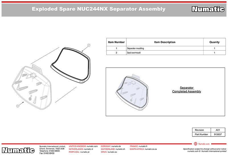 913837 Separator Assembly Kit Exploded Drawing