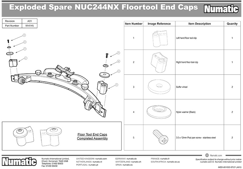914145 Floortool Caps Kit Exploded Drawing