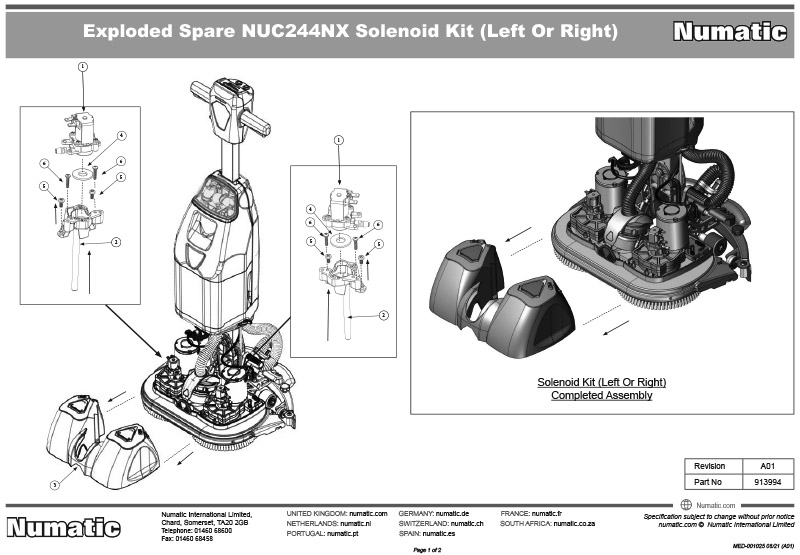 913994 Solenoid Kit Exploded Drawing