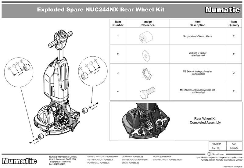 914004 Rear Wheel Kit Exploded Drawing