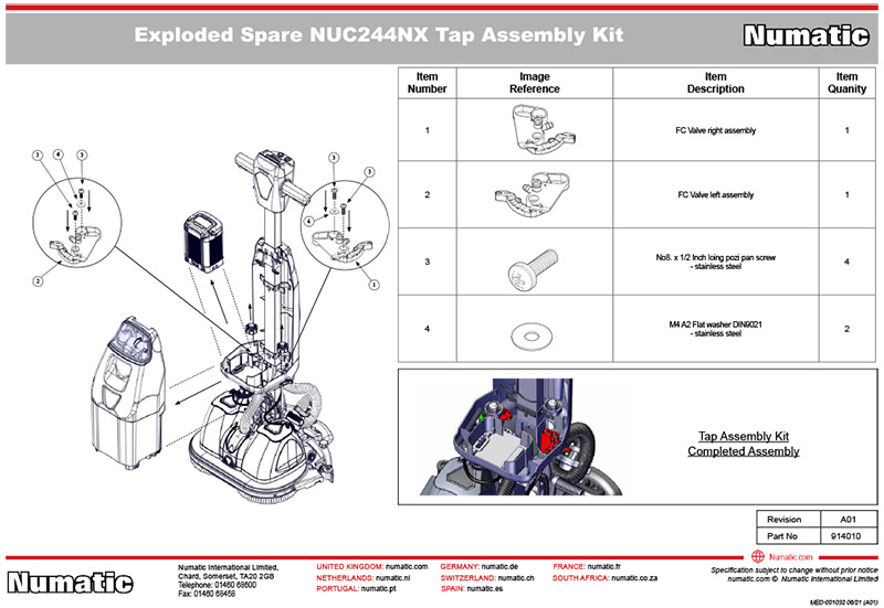 914010 Tap Assembly Exploded Drawing