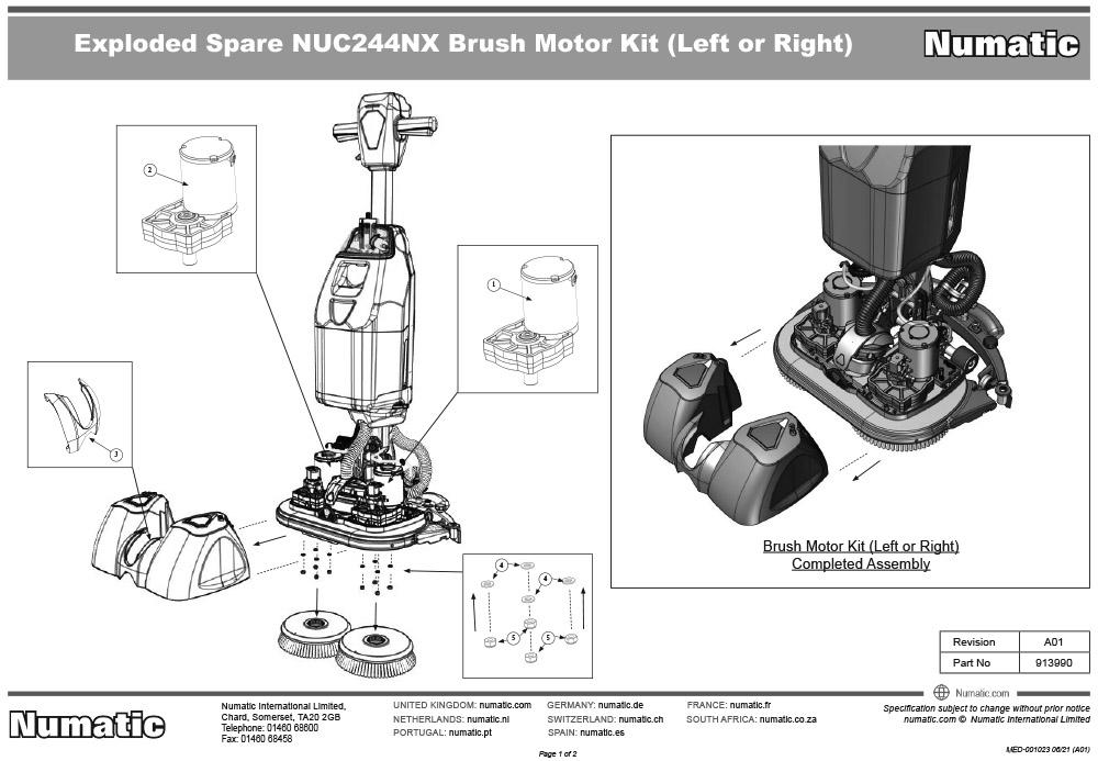 913990 Brush Motor Kit Exploded Drawing
