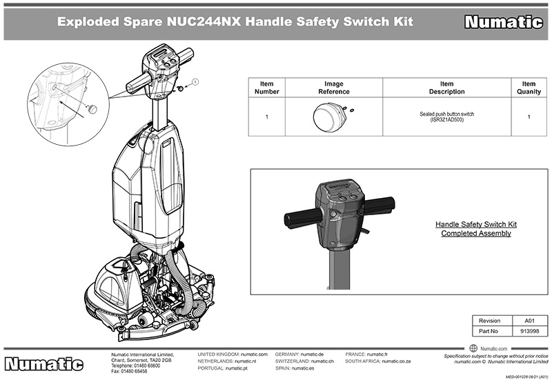 913998 Handle Safety Switch Kit Exploded Drawing