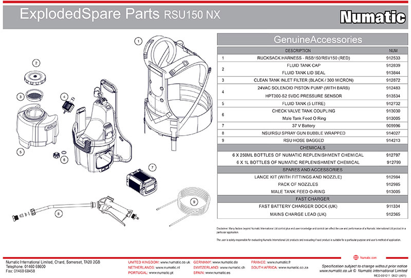 RSU150NX Exploded Spare Parts Drawing